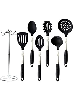 Pro31Living Kitchen Utensil Set - Black Silicone and Stainless Steel Cooking Tools with Holder for Nonstick Cookware