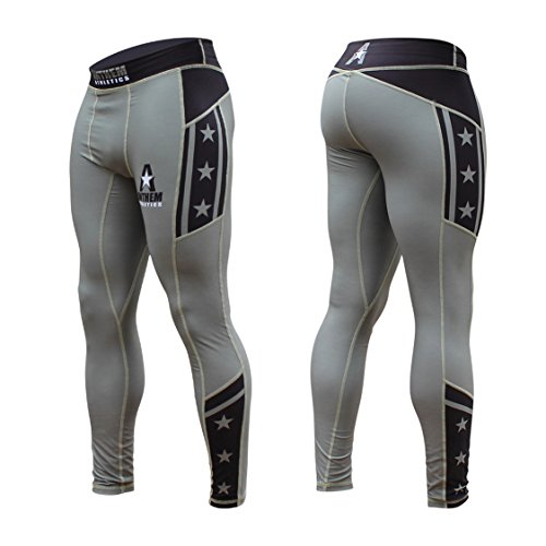- Anthem Athletics - 10+ Styles - HELO-X Grappling Spats Compression Pants Tights - BJJ, MMA, Muay Thai - Army, Black & Stars - Large