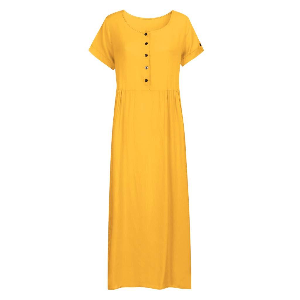 Nuewofally Maxi Dress for Women Splice Button Dress Solid Cotton Long Dress Casual Puffy Swing Dress Wedding Party(Yellow,S)