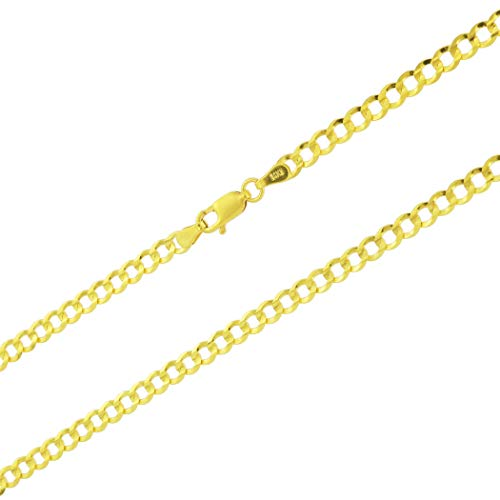 Unisex 14k Yellow Gold Solid 4mm Curb Cuban Chain Pendant Necklace, 16