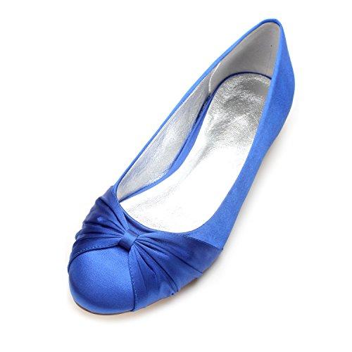 nozze blu calzature di Grande party Qingchunhuangtang scarpe testa scarpe di Il raso bocca alla profonda poco Scarpe rotonda moda seta Donna piano 1fxExZAw