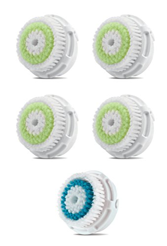 Facial Brush Heads, Greeninsync(TM) Compatible Replacement Facial Cleaning Brush Heads 5Pack 4Acne+1Deep for Clarisonic Mia, Alpha Fit, Mia Fit, Mia 2, Mia3, Aria, Smart Profile, Plus and Radiance