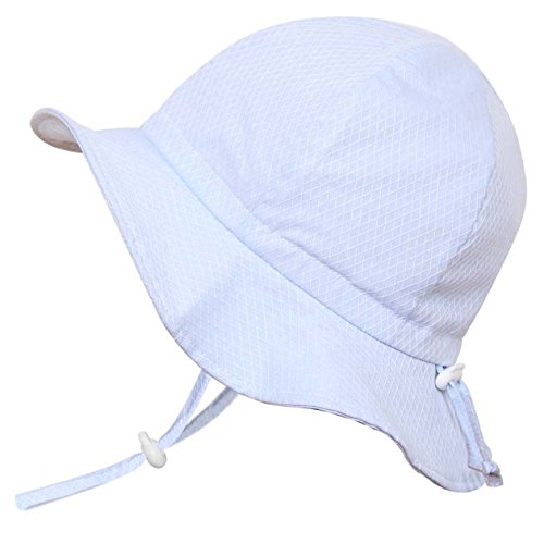Kids 50+ UPF Sun Protection Hat, Size Adjustable Breathable With Chin Strap(L: 3Y - 12Y, Blue argyle) by Twinklebelle