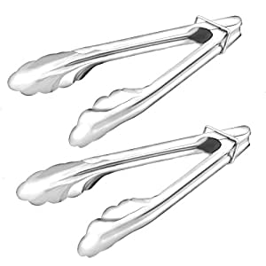 uxcell Restaurant BBQ Cake Bread Food Clamp Serving Tongs Clip 18cm Long 2pcs