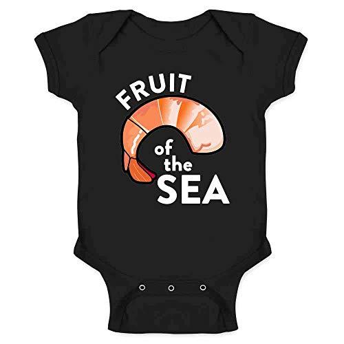 (Pop Threads Shrimp Fruit of The Sea Quote Funny Black 6M Infant Bodysuit)