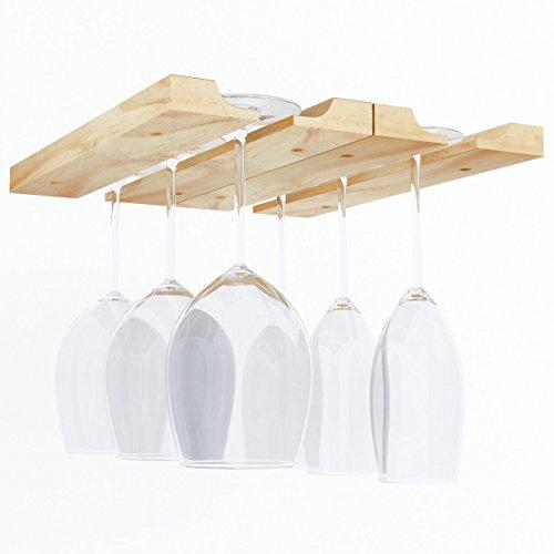 Under Cabinet Wooden Hanging Wine Glass Holder by ArtifactDesign Adjustable 2-Sectional Stemware Storage Rack (Hanging Wine)