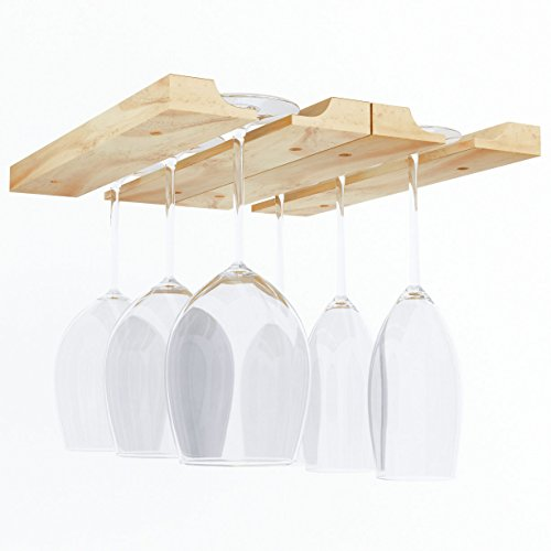 Rustic State Under Cabinet Wooden Hanging Wine Glass