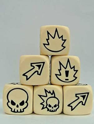 Flaming Skull Dice - Ivory w/Black by Impact! Miniatures by Impact Miniatures