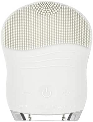 StyleCraft Gentle Sonic Facial Cleansing Brush, Ideal for All Skin Types, Smoothing, Anti-Aging, Makeup Remover, Acne Treatment (Gray)