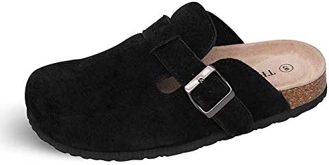 TF STAR Unisex Boston Soft Footbed Clog Cow Suede Leather Clogs Cork Clogs Shoes for Women Men