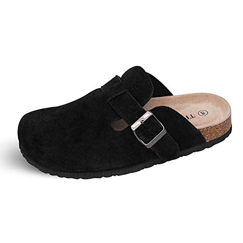 Soft Womens Clogs - TF STAR Unisex Boston Soft Footbed Clog Cow Suede Leather Clogs, Cork Clogs Shoes for Women Men Black