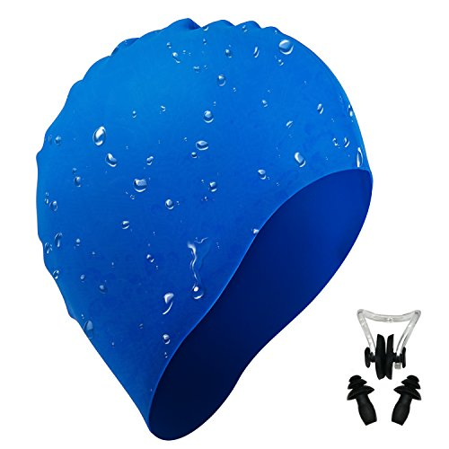 i-Summer Lightweight, Non-Toxic, Flexible And Resilient Silicone Swimming Cap Suitable for All Ages and All Hair Lengths, also Comes With Nose Clip And Ear - Swimming Caps Women For