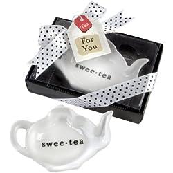 "Kate Aspen ""Swee-tea"" Ceramic Tea-Bag Caddy, Party Favor, Wedding Decoration, Bundle of 24, White"