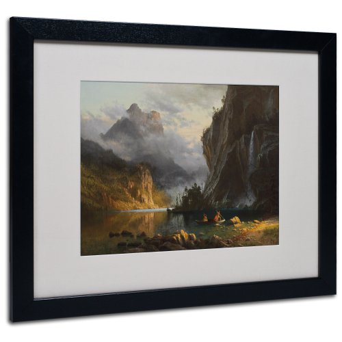 Canvas Frame Bierstadt - Indians Spear Fishing Canvas Wall Art by Albert Bierstadt with Black Frame, 16 by 20-Inch