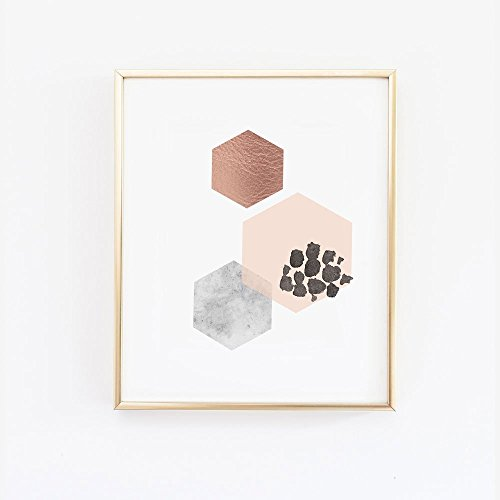 Scandinavian Hexagon Wall Art Blush Marble and Copper - Marble Wall Decor