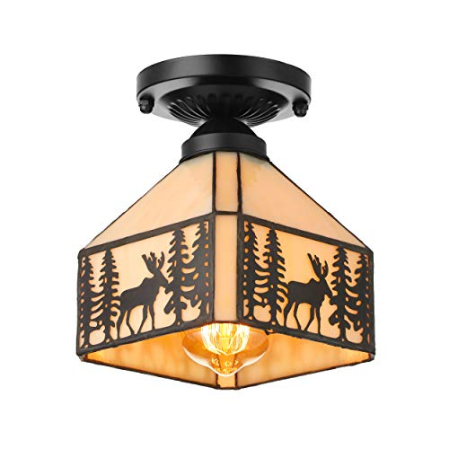 (JINGUO Lighting Vintage Elk Pattern Ceiling Lighting Fixtures Tiffany Stained Glass Style Flush Mount Ceiling Light for Living Room, Hallway, Kitchen, Dining Room Black 7.48inch)