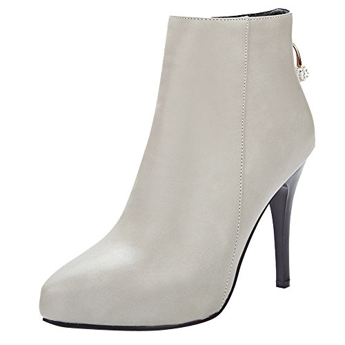 Women's Zip High Carolbar Sexy Dress Grey Rhinestones Boots Heel Elegant qYxZwd6