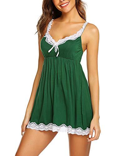 Avidlove Women Sexy Sleepwear Lace Chemise Nightgown Full Slip Babydoll Sleepwear Dark Green L (Plus Lingerie Green)