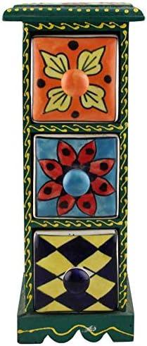 IndianShelf Handmade Wooden and Ceramic Multicolor Spice Rack Container Organizer Dabba Jewellery Box Three Darwer 6.75 Designer