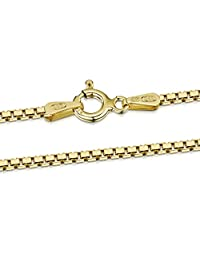 """18K Gold Plated on 925 Sterling Silver 1.5 mm Venice Box Chain Necklace 16"""" 18"""" 20"""" 22"""" 24"""" in"""