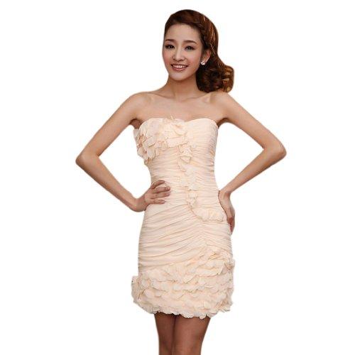 Herz Reissverschluss Linie Mini Kurz Ausschnitt Damen Champagner Abendkleider Aermellos Etui Kleidungen Dearta Chiffon U1qcFWB1y