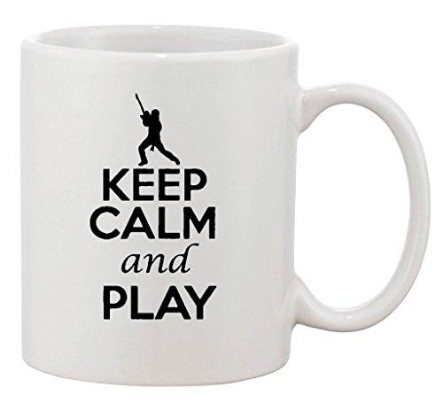 (Keep Calm And Play Guitar Band Guitarist Funny Ceramic White Coffee 11 Oz Mug)