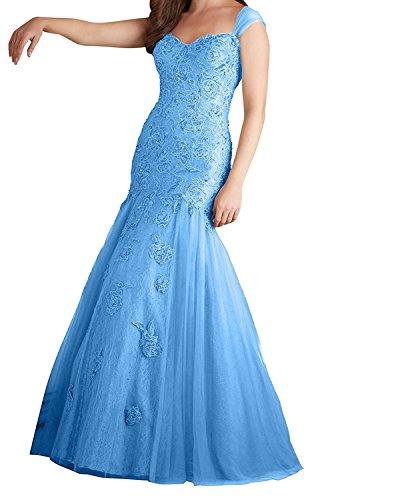 Abendkleider Abiballkleider Grau Promkleider Kleid Spitze Charmant Traegerkleider Langes Damen Blau Meerjungfrau XwT0Tq