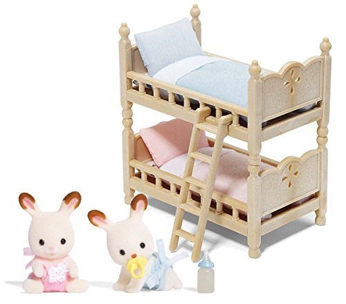 Calico Critters Hopscotch Rabbit Twins bundled with Bunk Bed - Inspired Set Bed Bunk