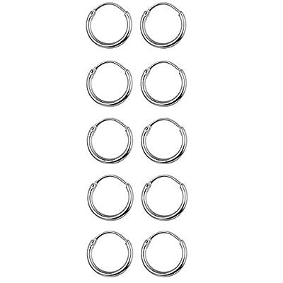 Cheap Thunaraz 5 Pairs Stainless Steel Endless Hoop Earrings Cartilage Piercing Silver Tone Sleeper Earrings 10mm for sale