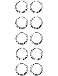 5 Pairs Stainless Steel Endless Hoop Earrings Cartilage Piercing Silver Tone Sleeper Earrings 10mm