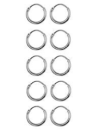 Thunaraz 5-6 Pairs Stainless Steel Endless Hoop Earrings Cartilage Piercing Silver Tone Sleeper Earrings 8mm-10mm