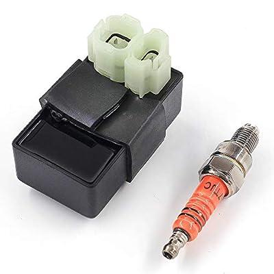 Trkimal Universal AC 6-pin CDI + High Performance Racing Spark plug for GY6 50cc 125cc 150cc ATV Go Kart Moped Scooter 4 Wheeler Quad Bikes: Automotive