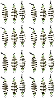 BESPORTBLE 24Pcs Fishing Bait Trap Cage Carbon Steel Spring Feeder Basket Holder with Luminous Beans Lure Fish