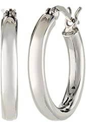Sterling Silver Round Snuggable Huggie Hoop Earrings