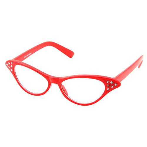50's Kids Nerd Cat Eye Glasses Girls Costume Children's (Age 3-12) (Red)