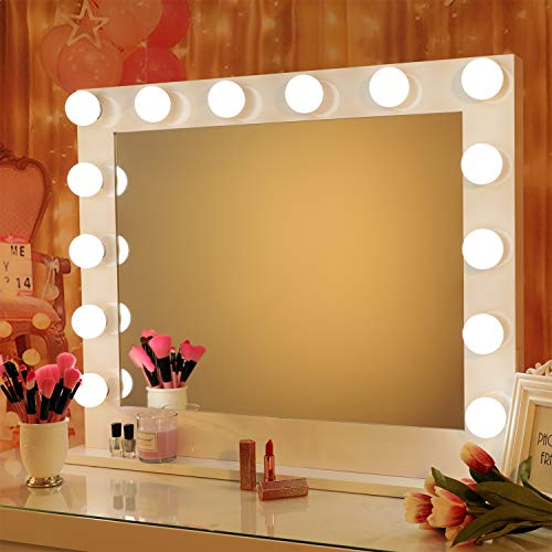 Save on Large Lighted Makeup Vanity Mirror, Hollywood Style Light-up Cosmetic Musthaves for Dressing Room & Bedroom, Tabletop or Wall-Mounted, Sturdy All-Metal Frame Design - White, 31.5