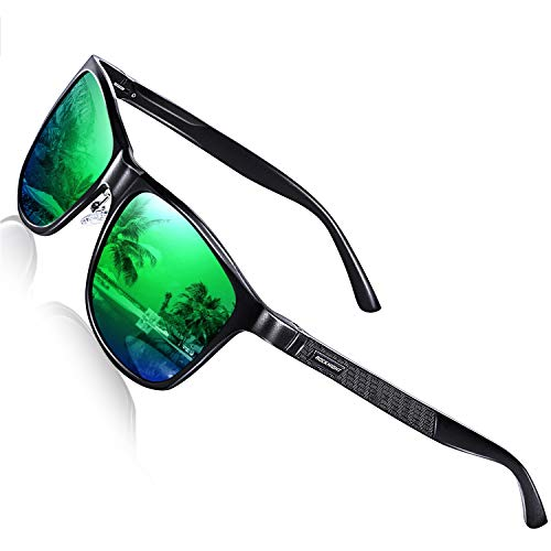 ROCKNIGHT Polarized UV Sunglasses for Men Mirror Green Oversized Sun Glasses Fashion Men Big Head Cool Sunglasses Fishing Gifts Lightweight Couple Beach ()