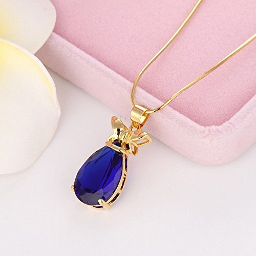 Tiffany Yellow Necklace (Siam panva New Fashion Necklace 18k Yellow Gold Filled Womens Blue Pendant 18
