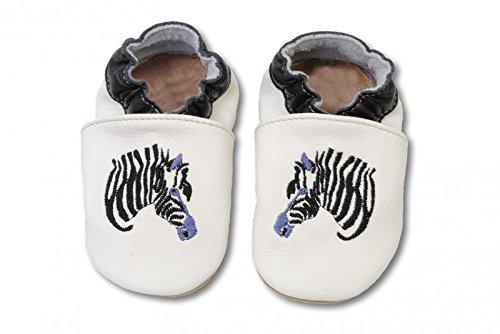 HOBEA Bestickte Krabbelschuhe Zebra