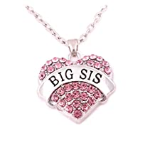 Charm.L Grace Matching Necklaces Crystal Heart Necklace Big Sis Middle Lil Sister