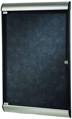 Ghent 42-1/8 x 27-3/4 Inches 1-Door Silhouette Enclosed Bulletin Board, Satin and Black Frame with Flair Fabric, Twilight , Made in the USA by Ghent