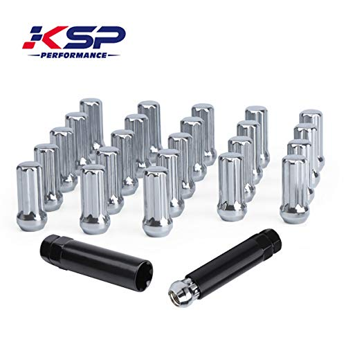 KSP 14mm-1.5 Tuner Wheel Lug Nuts, M14-1.5 Wheel Lug Nuts,Chrome Acorn/Conical M14X1.5 Closed Bulge Cone Seat 2'' Tall with 2 Socket Keys Fits 6 Lug Aftermarket Wheels, 1 Year Warranty (Nuts Chrome Wheel)