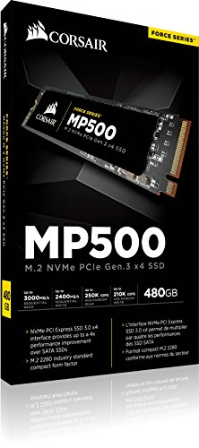 CORSAIR FORCE Series MP500 480GB NVMe PCIe Gen3 x4 M.2 SSD Solid State Storage, Up to 3,000MB/s 8 The CORSAIR NVMe PCIE boosts bandwidth, allowing you to access all of your data, load files and launch games with speeds up to 4x faster than the SATA 3.0 CORSAIR NVMe M.2 SSDs enable a new level of performance in a compact form-factor Additional error bit correction and improved data retention, while supporting the latest generation NAND