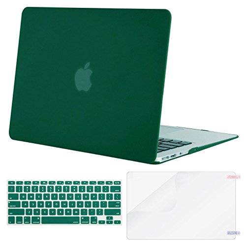 MOSISO Plastic Hard Case & Keyboard Cover & Screen Protector Only Compatible MacBook Air 13 Inch (Models: A1369 & A1466, Older Version Release 2010-2017), Peacock Green