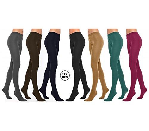 Pack de 12 collants d'hiver 150 DEN en microfibre pour femme plusieurs couleurs MEDIA WAVE store ®