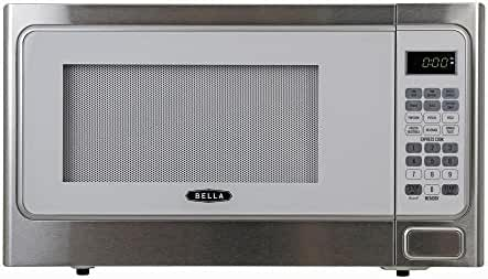Bella 1.1 cu. ft.1000-Watt Countertop Microwave Oven in White with Stainless Steel