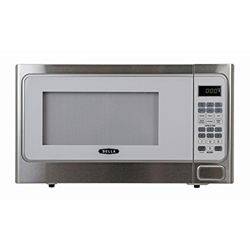 Bella 1.1 cu. ft.1000-Watt Countertop Microwave Oven in White with Stainless Steel by Bella