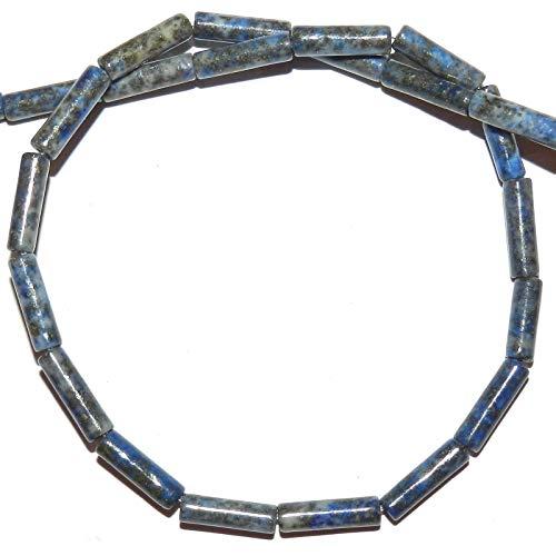 Bead Jewelry Making Blue Denim 8mm - 14mm Round Tube Natural Lapis Lazuli Gemstone Beads ()