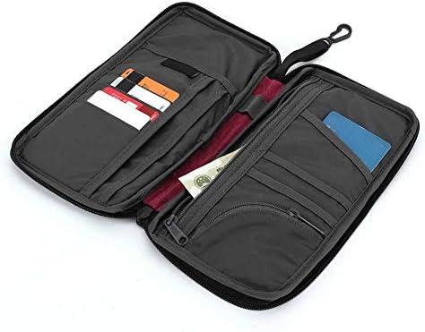 パスポートバッグ トラベルドキュメントバッグ ポータブル 多機能 ポリエステル製 スキミング防止 航空券 紙幣 カード 小銭に対応
