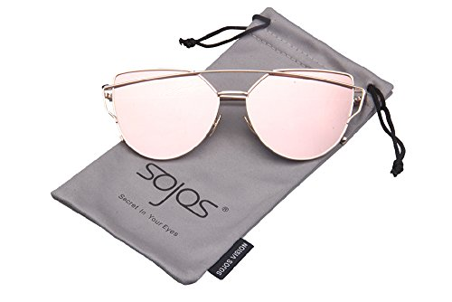 SojoS Cateye Metall Rand Damen Sonnebrille Fashion Mirrored Metal Frame Women Sunglasses SJ1001 With Gold Frame/Rosa Lens